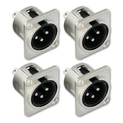 Panel Socket Audio Chassis 4pcs Metal Microphone Mount 3Pin Male XLR Connector