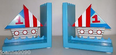Gisela Graham Ships Boats Ship Nautical Wooden Bookends Retro Christmas Gift