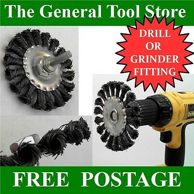 Drill Or Grinder Mounted Wire Wheels  Twisted Knot Brush Fits Any Drill 3 Sizes