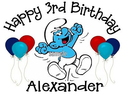Smurf Personalized Birthday T-shirt Custom Tee
