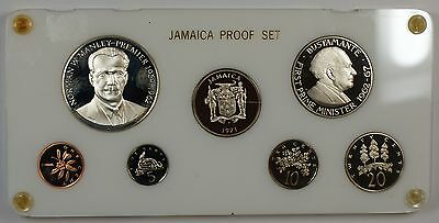 1971 Jamaica 7 Coin Proof Set in Deluxe Plastic Holder