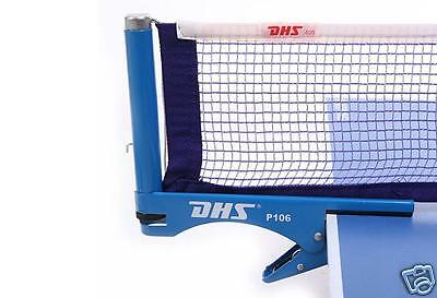 100% Genuine DHS Table Tennis Clip Type  Net & Post Set #P106, Ping Pong Net Set