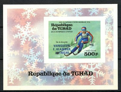 Chad 1976 Winter Olympics MNH IMPERF Card M/S #A31928
