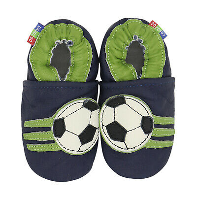 carozoo soccer dark blue 18-24m soft sole leather baby shoes slippers