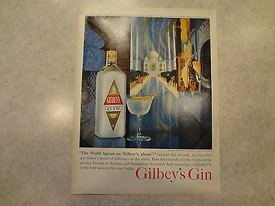 """1963 Gilbey's Gin Vintage Magazine Ad """"The World Agrees on Gilbey's Please."""""""