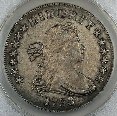 1798 Draped Bust Silver Dollar W/ Large Eagle, BB-108, B-13, ANACS EF-45 Details