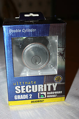 New Sealed - Double Cylinder Grade 2 Deadbolt - Ultimate Security -Antique Brass