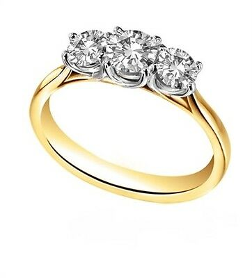 Diamond-Unique Trilogy Engagement Ring 9ct Gold 1.25ct