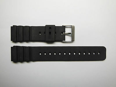 Replacement Black Silicon Rubber 20mm Watch Band Stainless Steel Buckle