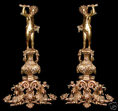 Massive Pair of French Antique Cast Bronze Figural Andirons #5777