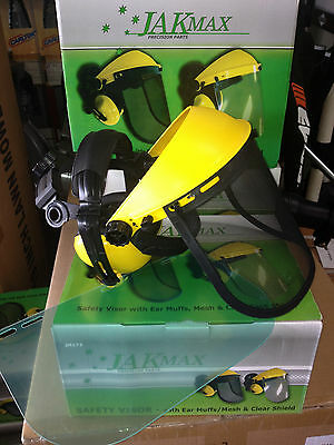 contractor chainsaw brushcutter face shield safety visor ear muff combo