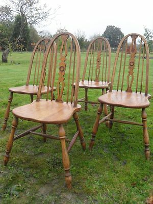 Set of 4 elm & Ash arched stick wheel back kitchen dining chairs (ref 1027)