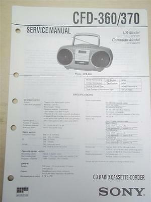 Sony Service Manual~CFD-360/370 CD Radio Cassette-Corder Boombox~Original~Repair