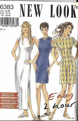 UNCUT Vintage New Look Sewing Pattern Misses Easy 2 Hour Dress 6383 8 - 18 OOP