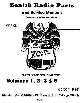 1942 Zenith Parts Catalog * CDROM * PDF