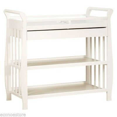 Baby Infant Solid HardWood Changing Table in White with Draw & Pad 3353W