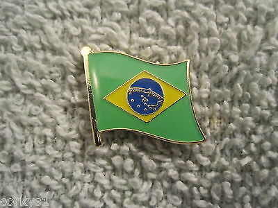 "Brazil National Colors Flag Lapel Pin ""Brasil"" Brass/Enamel Brazil Flag Pin"