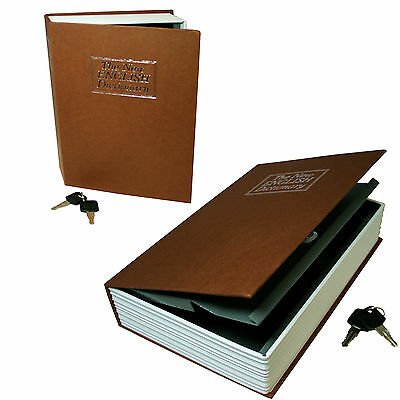 Dictionary Secret Book Hidden Safe With Key Lock Book Safe In Brown(Small Size)