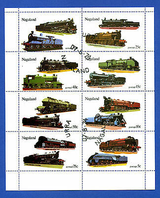 Nagaland  Of  India  -  Minisheet  Of  8  Different  Trains  Stamps  -  1974