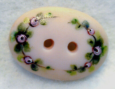 Handcrafted Porcelain Button Pink Oval Flowers Sew Through FREE US SHIPPING