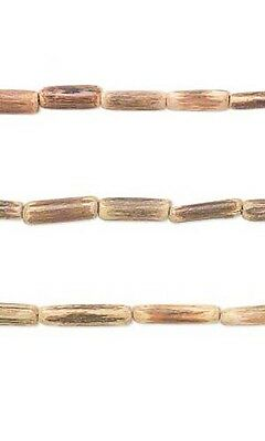 Set of 2, 31 inch Strands of Natural Coconut Shell Wood Barrel Tube Beads