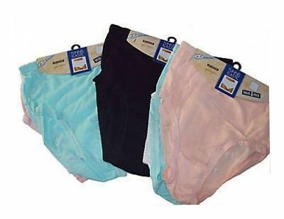 3 Pairs Ladies 100% Cotton Tunnel Elastic Briefs Pants Size Wms To 6Xos Nickers