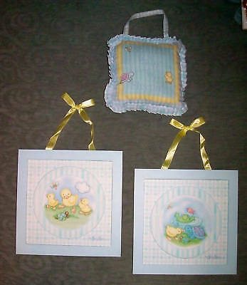 Baby Chick Turtle Fish Animals Blue Wall Hangings + Soft Hanging Door Pillow