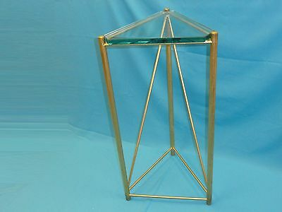 FABULOUS MODERN 70's GILT TRUSS DESIGN  w/ THICK GLASS TOP TABLE STAND PEDESTAL