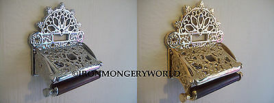 Solid brass vintage Ornate Antique victorian old style Toilet Roll Holder