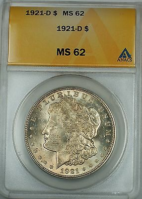 1921-D Silver Morgan Dollar, ANACS MS-62, Better Coin, JT