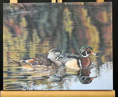 Duet Wood Duck Pair Bird Art Made in USA Canvas Giclee Gallery Wrapped Print NIB