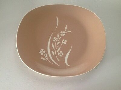 "Harkerware  SPRINGTIME (1) 13 1/2"" long Oval  Platter  Tan with White Flowers"