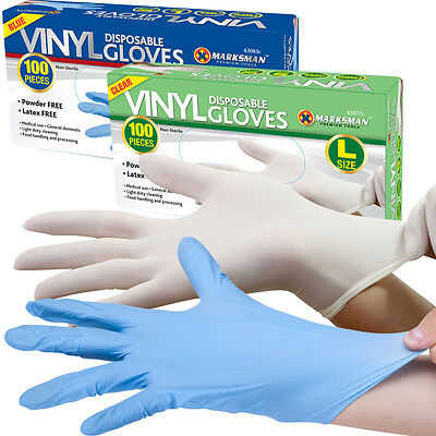 100 Powder Free / Powdered Vinyl Blue Disposable Gloves Multi Work Food Clear