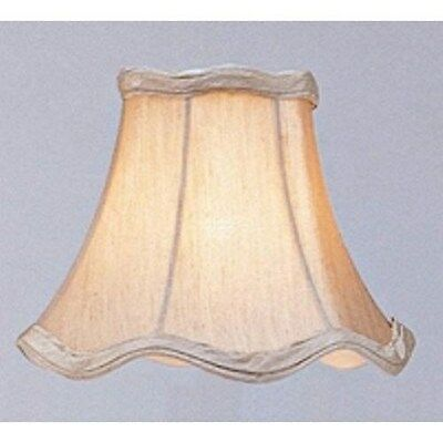 Livex 6 in. Wide Scallop Chandelier Clip Shade, Champagne, White Fabric Lining