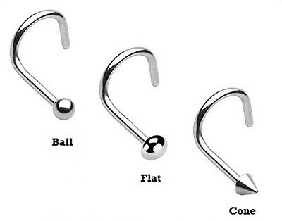 New Surgical Steel Hook Nose Screw Stud Ring with Ball Cone Flat Top 1mm