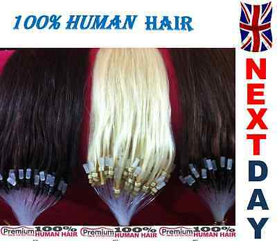 "16"" Loop Micro Ring 100% Remy Human Hair Extensions,Choose Colour, 6A QUALITY"