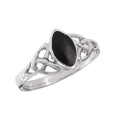 Sterling Silver Celtic Knotwork w/ Onyx Ring Size 5-9