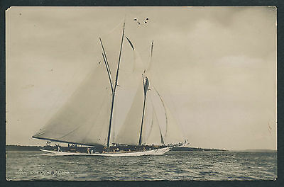 Carte-Photo Yacht Voilier c. 1905 - Type America's Cup - METEOR - 9