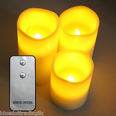 """NEW 3 PACK LED Flameless Ivory Wax Candles 4"""" 5"""" & 6"""" w/ Remote Control"""