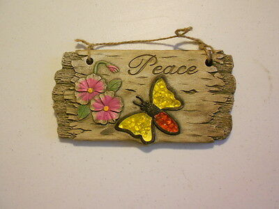 """8"""" x 4"""" Stone Hanging Plaque (new) PEACE DRAGONFLY"""