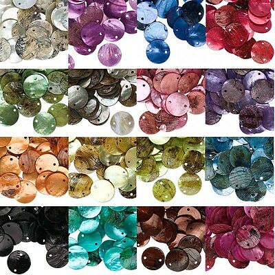 Lot of 100 Iridescent Mussel Shell 2 Hole Flat Round Link Connecting Beads