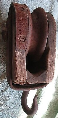 Unusual Antique Wood / Iron  Pully