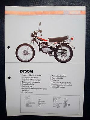 YAMAHA DT50M - Motorcycle Specifications Sheet - C.1981