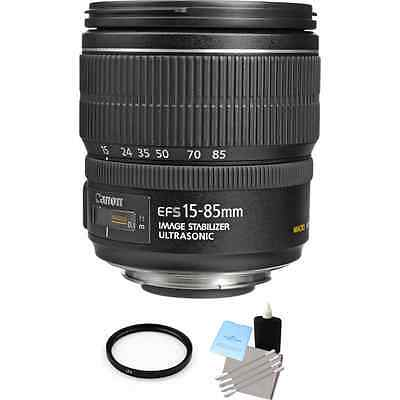 Canon EF-S 15-85mm F/3.5-5.6 IS USM Lens + UV Filter & Lens Cleaning Kit