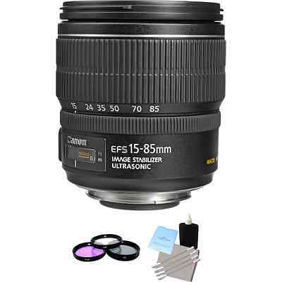 Canon EF-S 15-85mm F/3.5-5.6 IS USM Lens + 3 PC Filter Kit & Lens Cleaning Kit