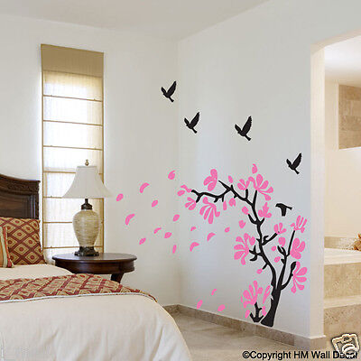 Bi-colour Flower tree & 5 Birds DIY  Removable wall decal