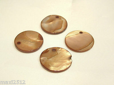10 Dyed Natural Shell Disc Beads:BNSB47 Caramel