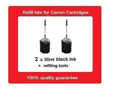 2 black refill kits for Canon PG-640 (PG640) & PG-640XL (PG640XL) ink cartridges