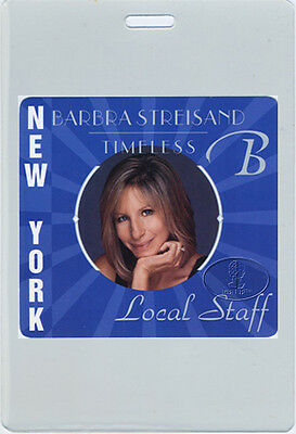 BARBRA STREISAND 2000 TIMELESS TOUR LAMINATED BACKSTAGE PASS NYC numbered