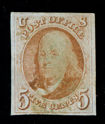 momen: US Stamps #1 Used Scarce Green Cancel VF